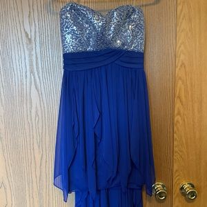 Blue Strapless High-Low Dress